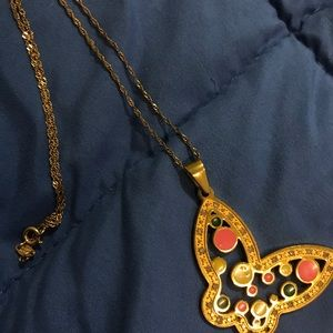 Butterfly Pendant a Golden Necklace